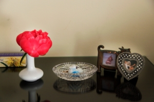A peony on my alter in my room in Laguna Niguel. Vase from the room service tray.