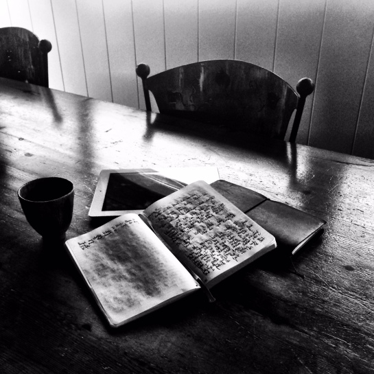 Moleskine notebook and Midori traveler's notebook. IPad. Clayton teacup.